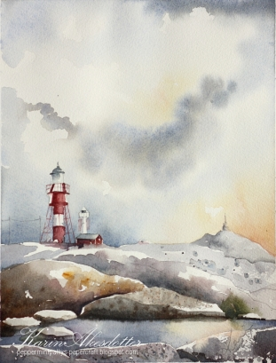 Doodlewash - watercolor painting by Karin Åkesdotter of lighthouse