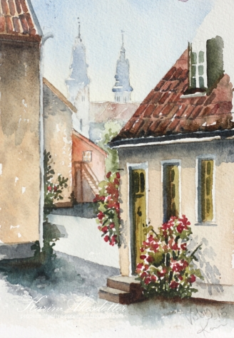 Doodlewash - watercolor painting by Karin Åkesdotter of village