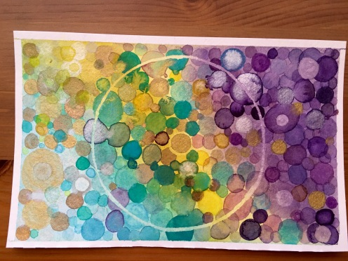 Dots mandala watercolor painting by jessica seacrest