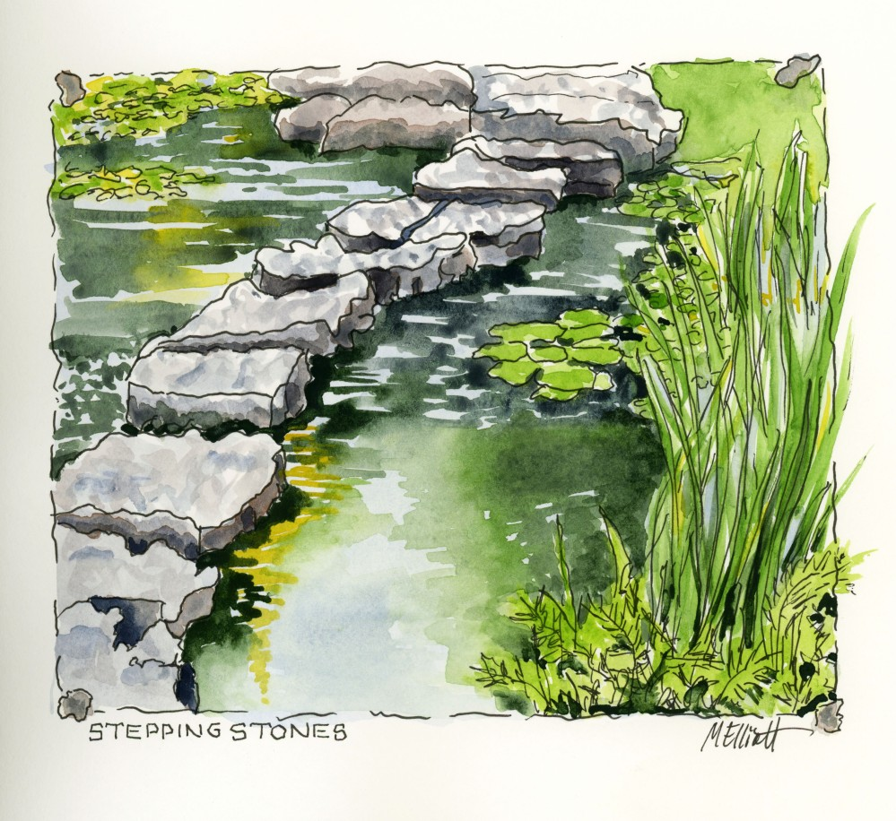 Doodlewash and watercolor sketch by Meliessa Garrison Elliott of Stones and Water