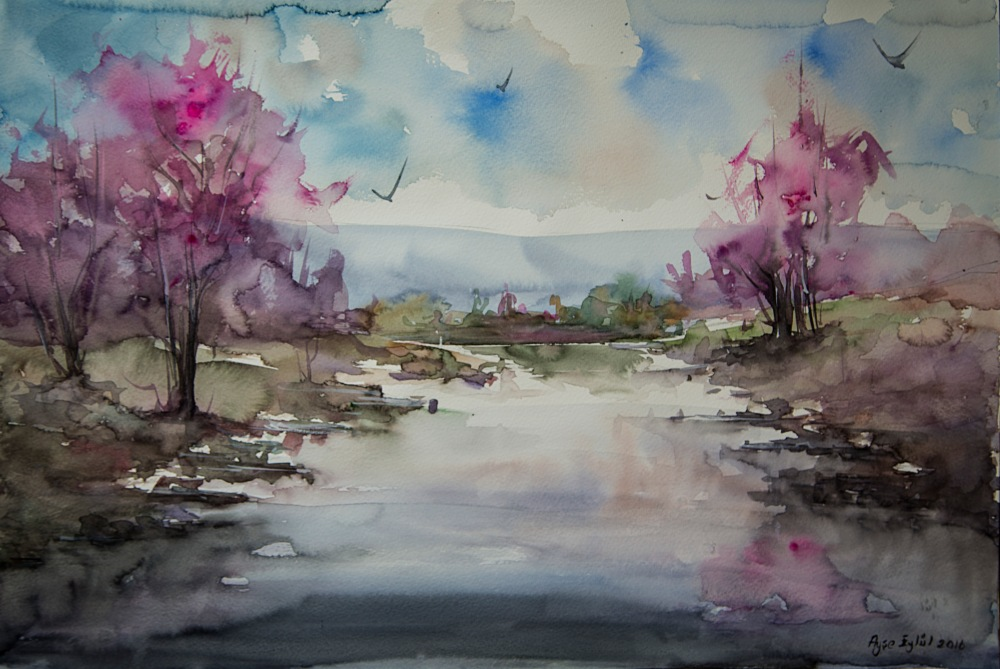 #Doodlewash - watercolor painting by Ayşe Eylül Sönmez of landscape #WorldWatercolorGroup