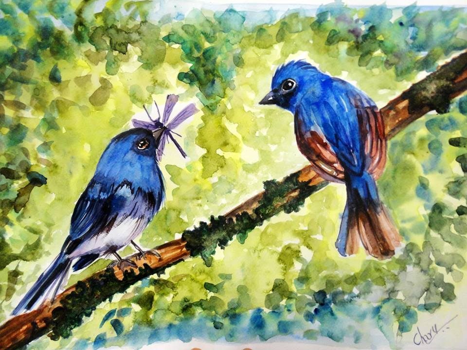 Doodlewash - Watercolor by Charu Jain of bluebirds