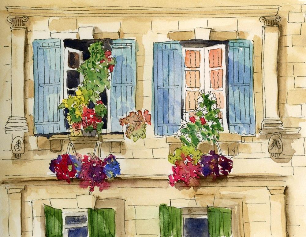 Doodlewash and Watercolor sketch by Melissa Garrison Elliott of Shutters in France