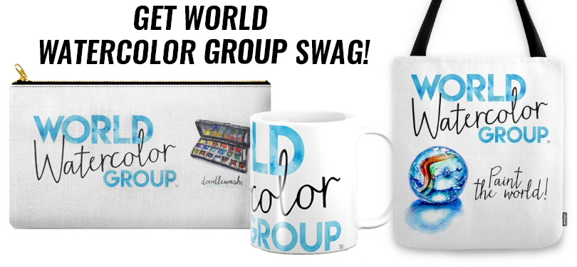 #WorldWatercolorGroup - Get World Watercolor Group Swag on Society6 Zipper pouch mug tote bag