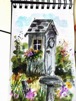 Doodlewash - Watercolor by Charu Jain of small house