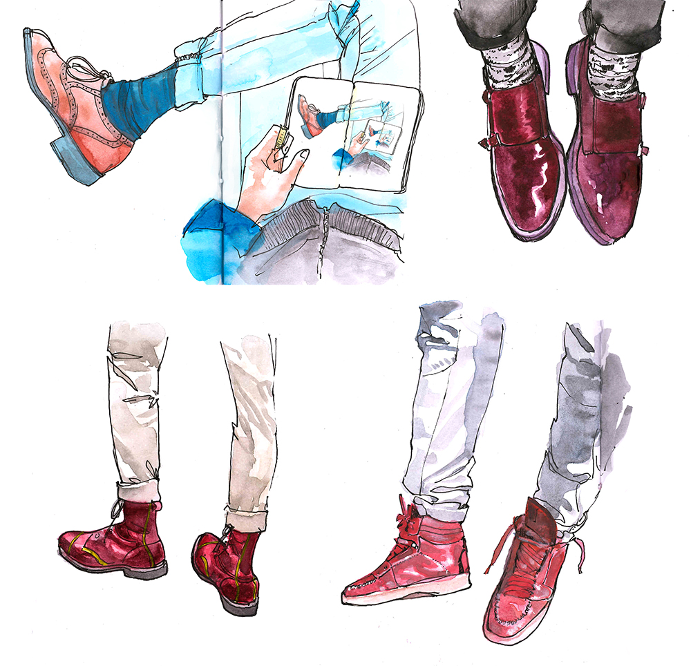 Doodlewash - Watercolor Illustration - Fashion - by James Skarbeck of mens shoes