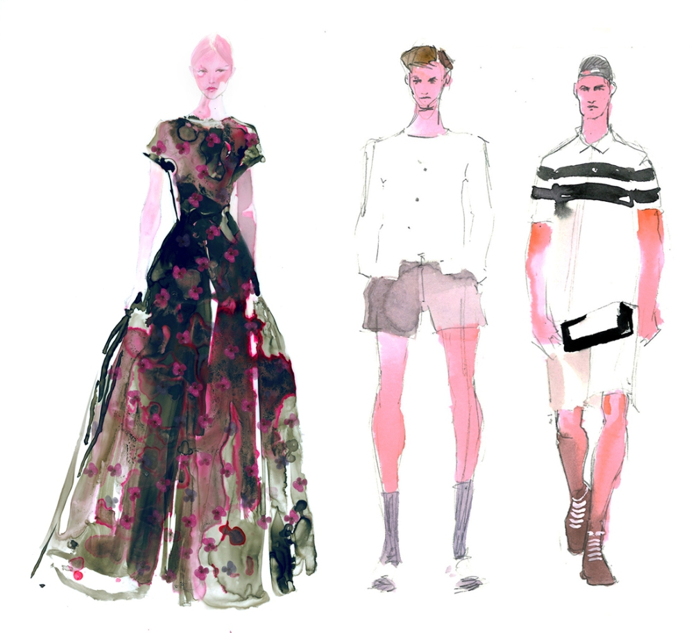 Doodlewash - Watercolor Illustration - Fashion - by James Skarbeck of menswear and woman's dress