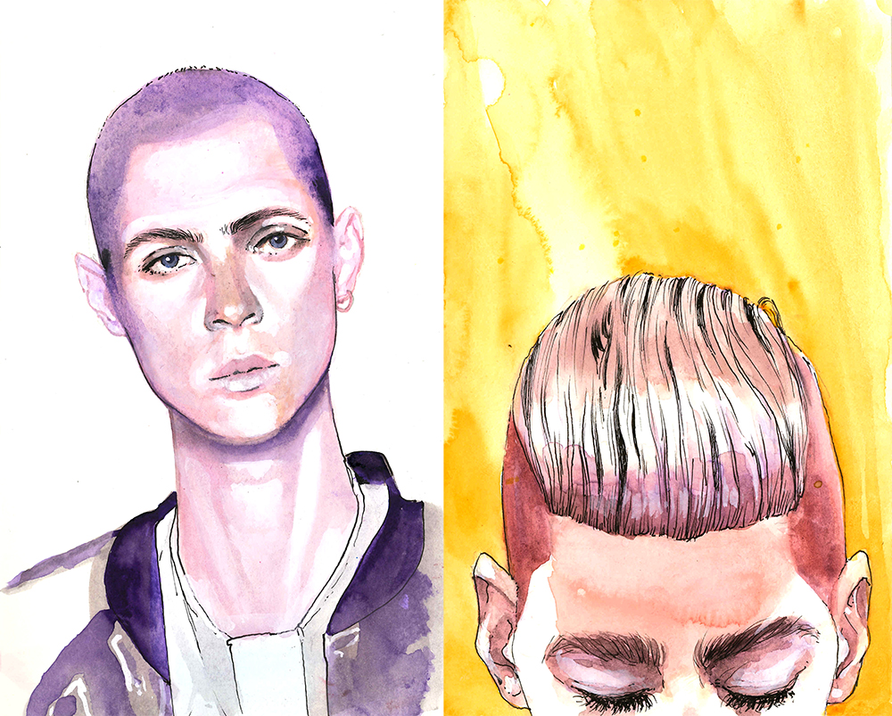 Doodlewash - Watercolor Illustration - Fashion - by James Skarbeck of hairstyles
