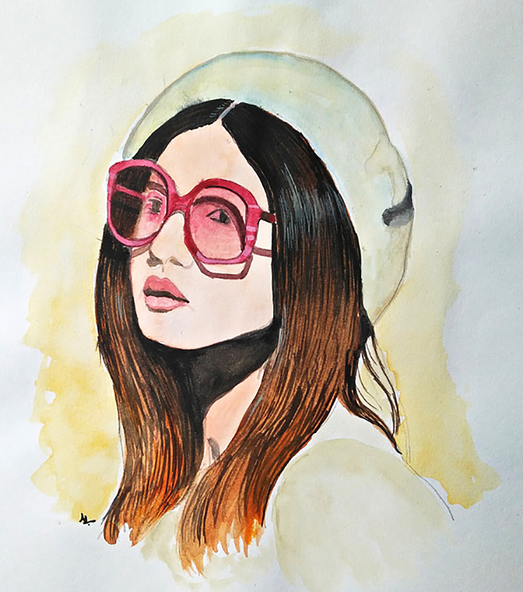 Doodlewash - Watercolor painting by Athira Gopal of woman's portrait