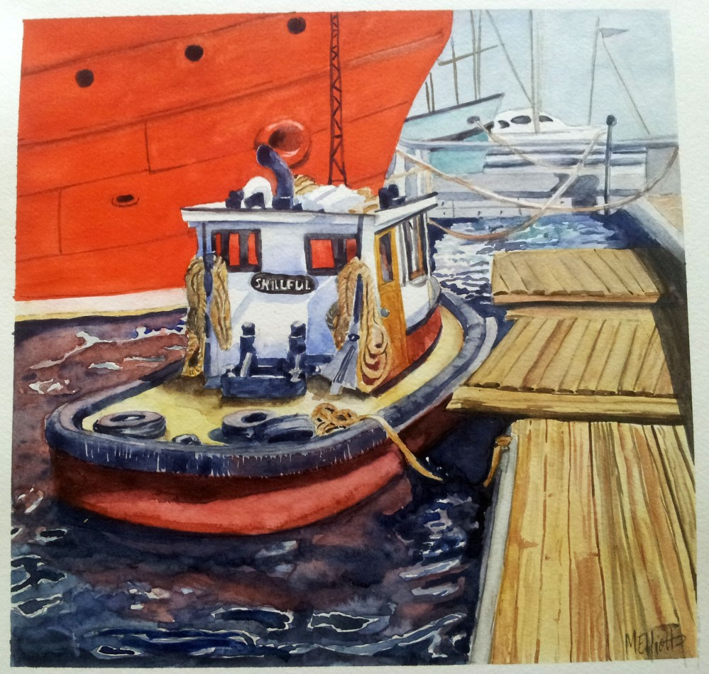 Doodlewash and watercolor sketch by Meliessa Garrison Elliott of Lake Union Boat