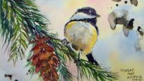 #Doodlewash - Watercolor by Lindsay Weirich of chickadee #WorldWatercolorGroup