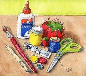 Doodlewash and watercolor sketch by Meliessa Garrison Elliott of Craft and Art Supplies