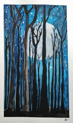 Doodlewash - Watercolor painting by Athira Gopal of Moonlit Night