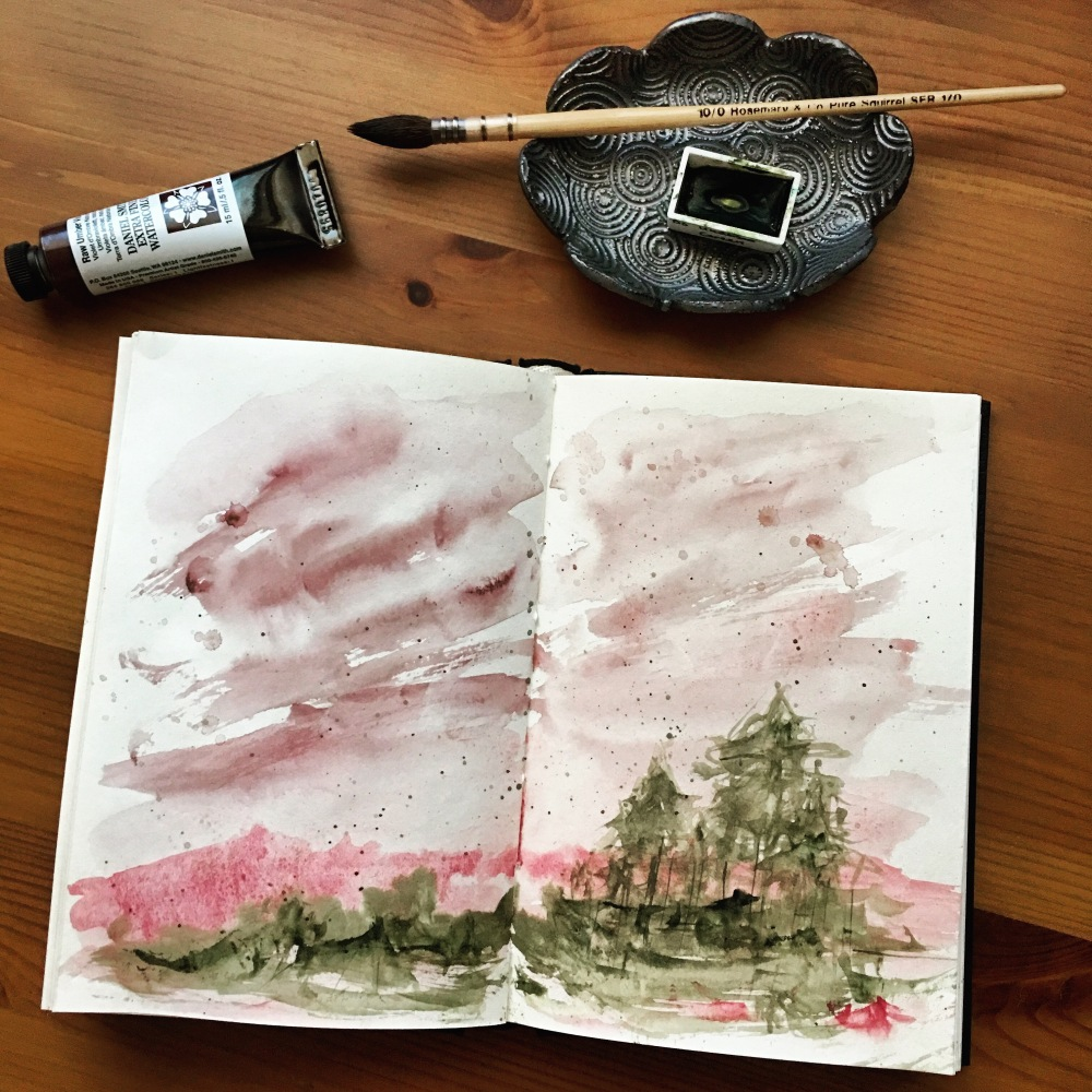 Daniel Smith Raw Umber Violet watercolor example painting by Jessica Seacrest