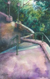 Doodlewash - Watercolor by Bill Jackson of Riverside Park Stairway