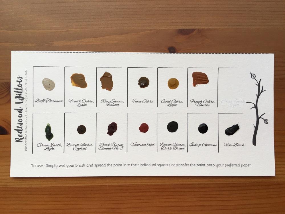redwood willow handmade watercolors sample dot card