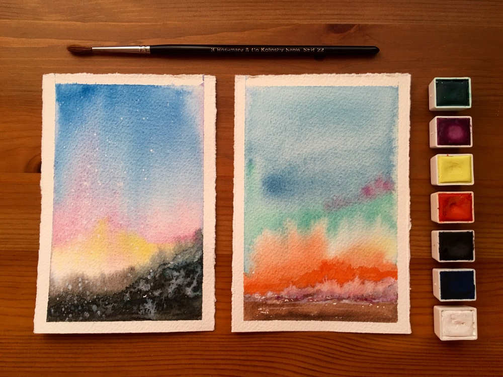 Pfeiffer Art Supply abstract landscape watercolor paintings by Jessica Seacrest and watercolor half pans