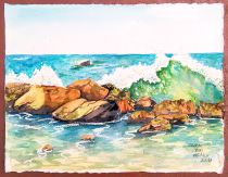 #Doodlewash - Watercolor by Lindsay Weirich of seascape #WorldWatercolorGroup