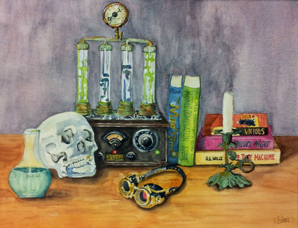 Doodlewash and Watercolor sketch by Melissa Garrison Elliott of Steampunk Still Life