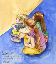 Doodlewash and watercolor sketch by Meliessa Garrison Elliott of Story Time Teens read to tots