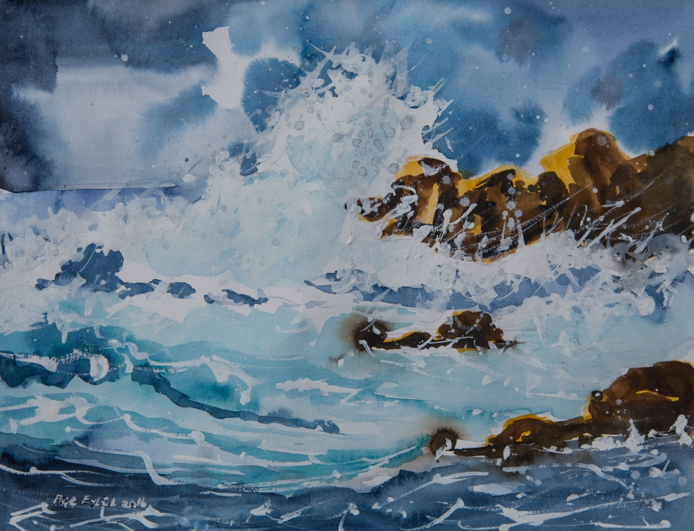 #Doodlewash - watercolor painting by Ayşe Eylül Sönmez of the big wave #WorldWatercolorGroup