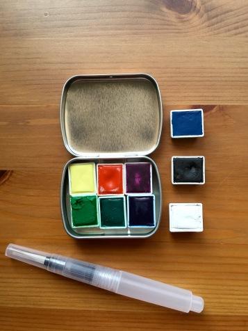 Pfeiffer Art Supply unwrapped half pans, metal tin and waterbrush