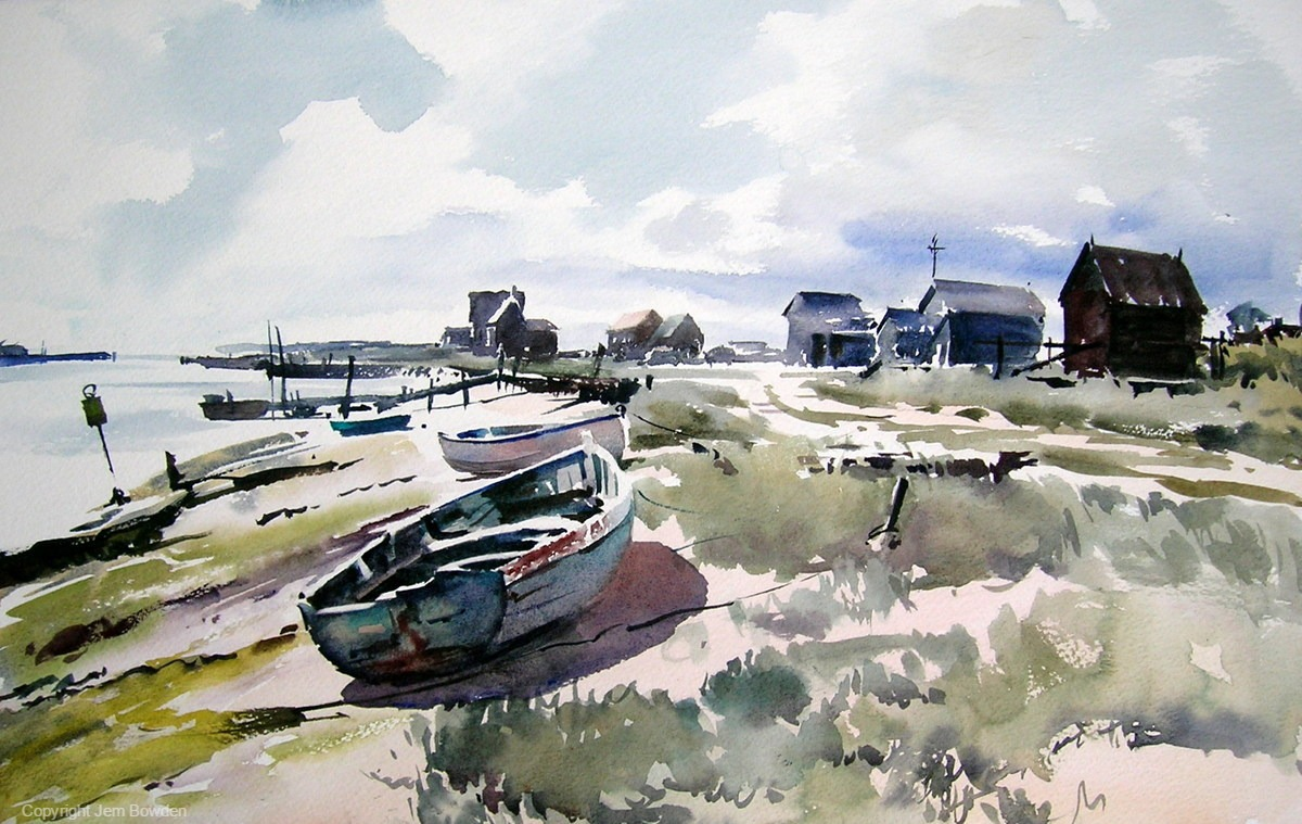 Doodlewash - Plein Air Watercolor Painting by Jem Bowden of boats and sea at Walberswick, Suffolk