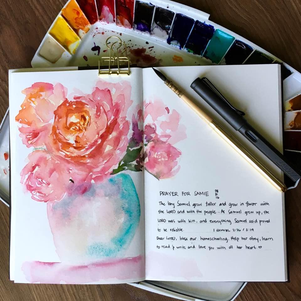 #Doodlewash - #Watercolor by Sarah Ongsun - pink rose - #WorldWatercolorGroup
