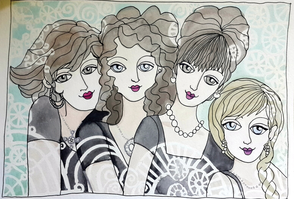 #Doodlewash - Watercolor by Nadene Esterhuizen of portrait of four women #WorldWatercolorGroup