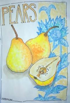 #Doodlewash - Watercolor by Nadene Esterhuizen of Pears #WorldWatercolorGroup
