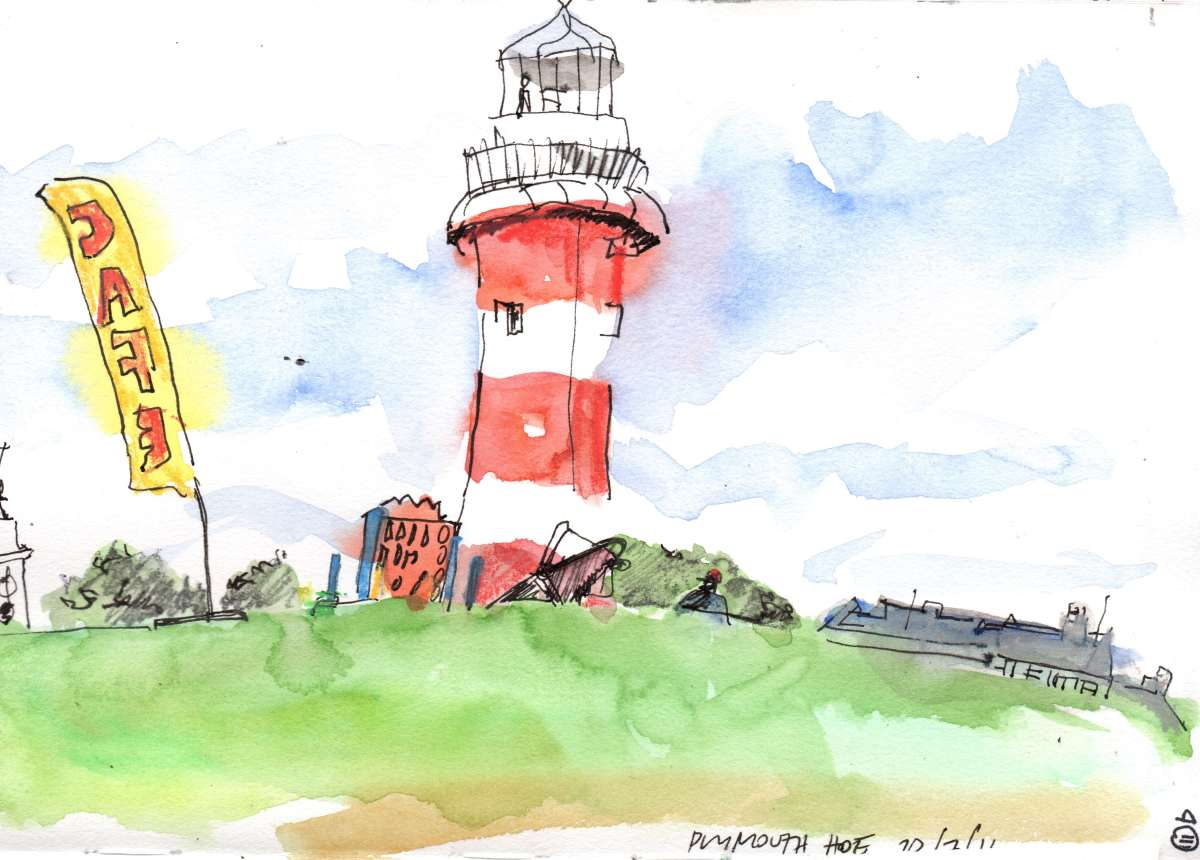 #Doodlewash - Watercolor sketch by Jonathan Price of Plymouth Hoe - #WorldWatercolorGroup