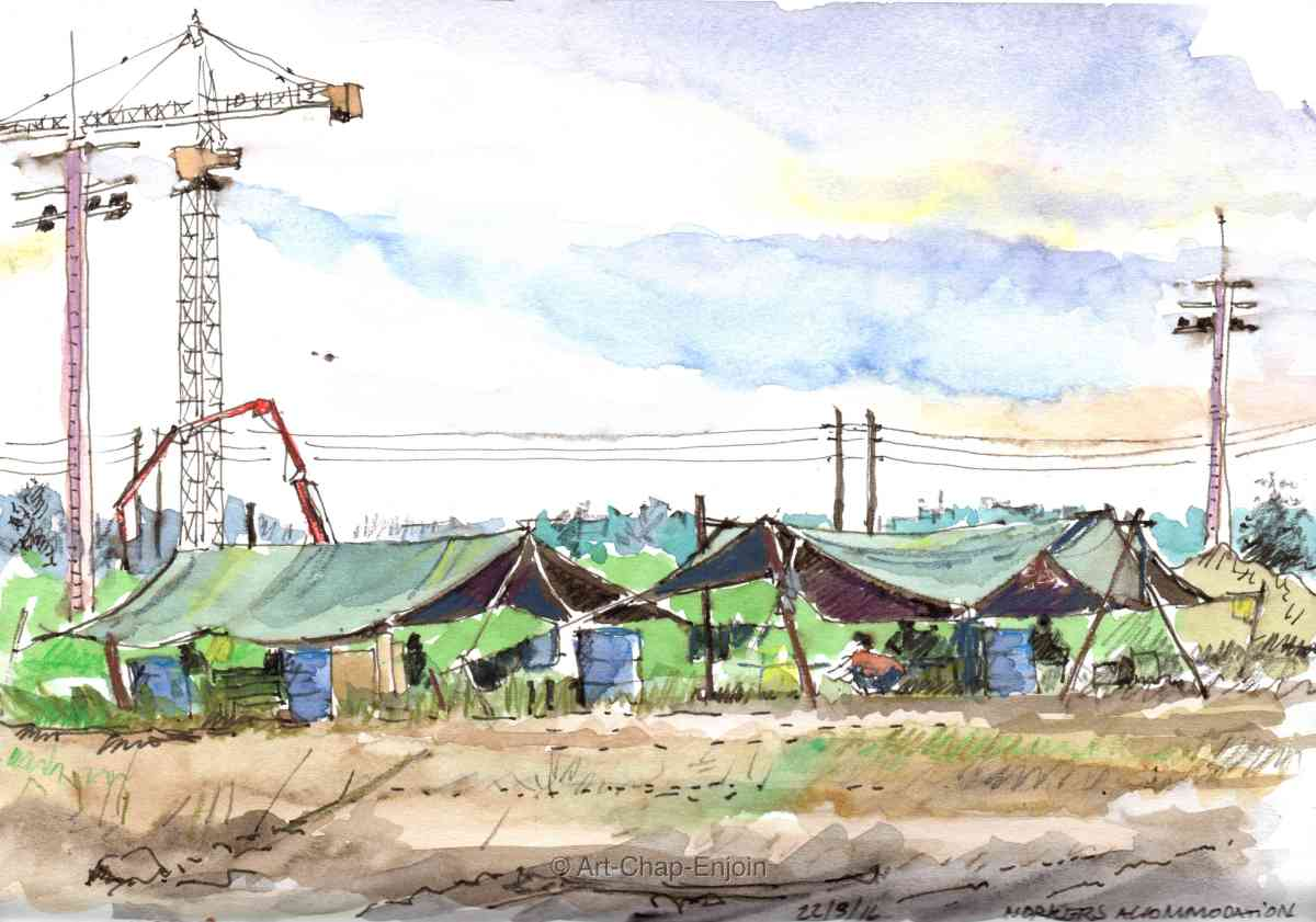 #Doodlewash - Watercolor sketch by Jonathan Price of workers accommodation - #WorldWatercolorGroup