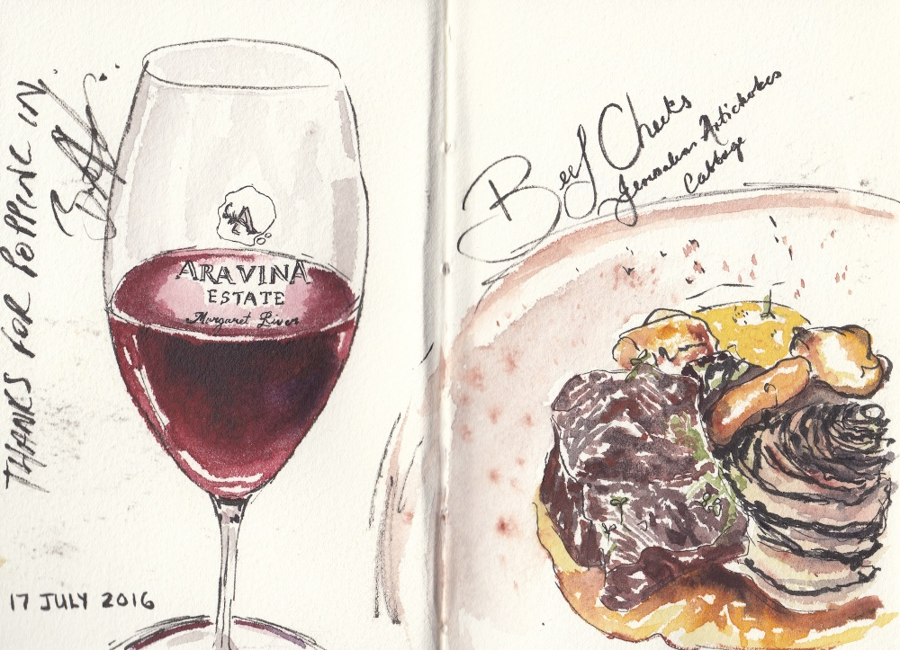 #Doodlewash - Watercolor sketch by Leslie Chua Aravina and beef cheeks - #WorldWatercolorGroup