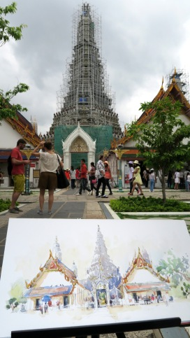 #Doodlewash - Stephanie Bower, #UrbanSketcher - watercolor sketch: Sketching at Wat Arun in Bangkok, Thailand #WorldWatercolorGroup