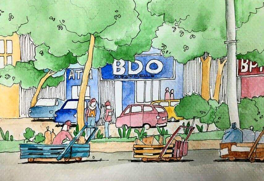 #Doodlewash - Watercolor Sketch by Abel Pabres - BDO Quezon Avenue - #WorldWatercolorGroup