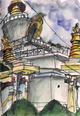 #Doodlewash - Watercolor sketch by Jonathan Price of Memoria Chorten - #WorldWatercolorGroup