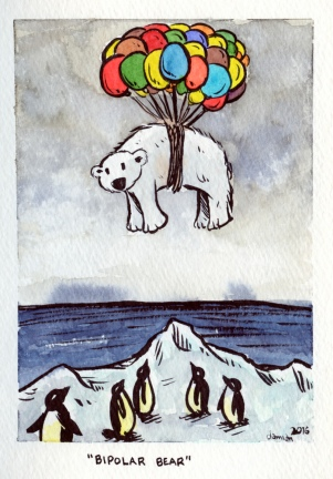 #Doodlewash - Watercolor comic by Damian Willcox, dorkboy comics - bipolar bear - #WorldWatercolorGroup