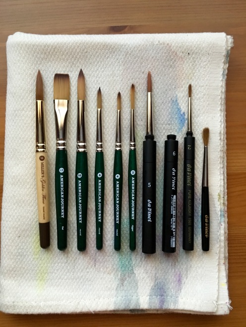 Cheap Joes American Journey and golden fleece Travel brushes and da vinci cosmotop spin travel brush Mochi Things Better Together note pouch v3 watercolor travel setup, watercolor brushes