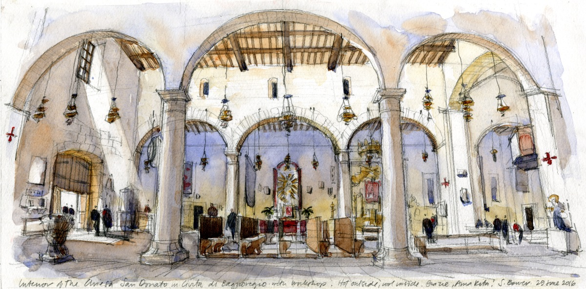 #Doodlewash - Stephanie Bower, #UrbanSketcher - watercolor sketch: Church interior in Civita di Bagnoregio, Italy #WorldWatercolorGroup