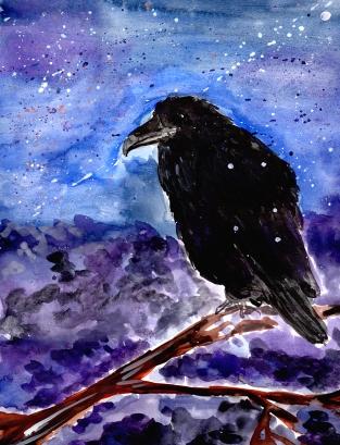 #Doodlewash - Watercolor by Anya Kopotilova - black bird - #WorldWatercolorGroup