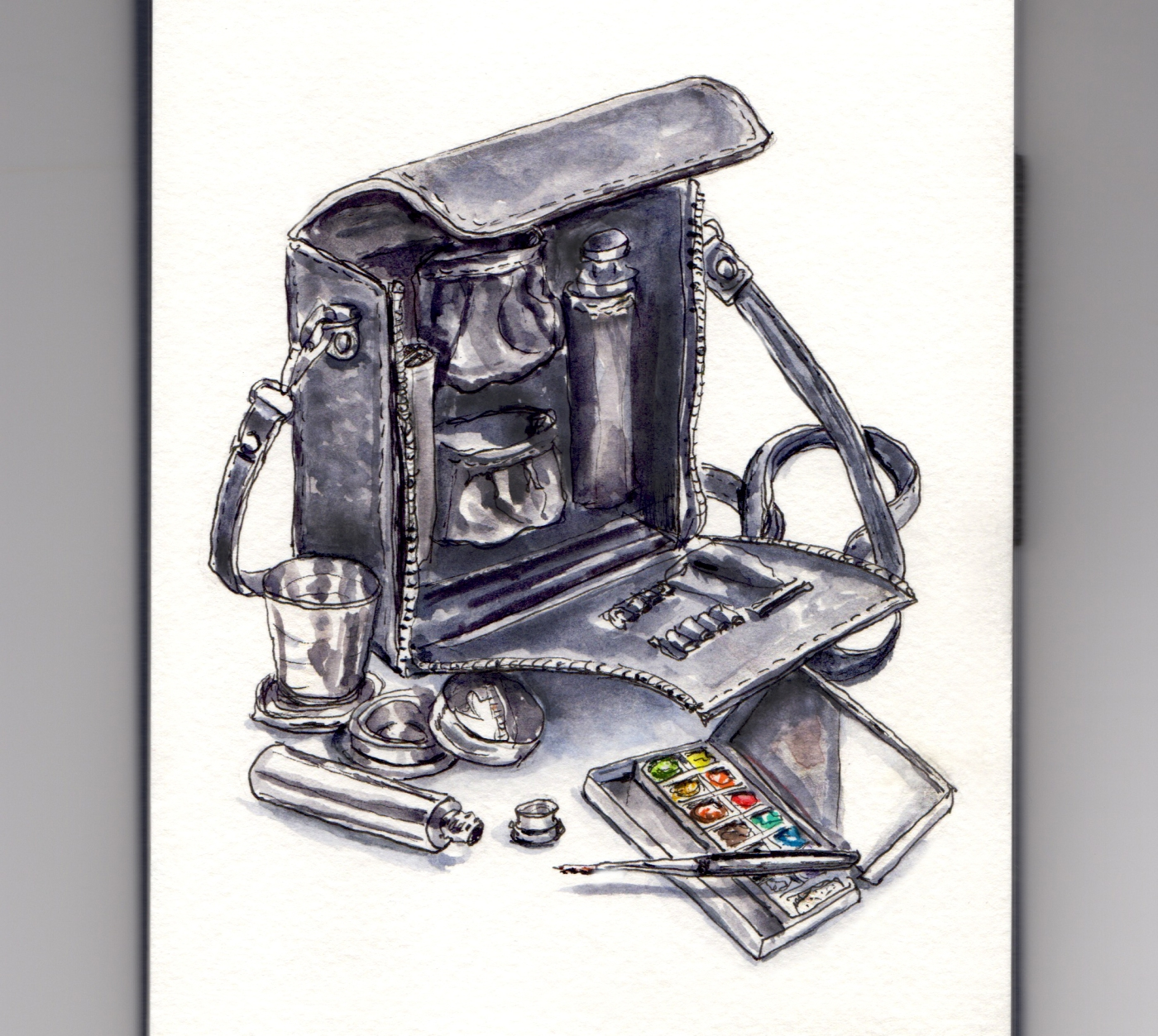 Day 14 #WorldWatercolorGroup My Travel Paint Kit - Joe Miller's Travel Painter Set from Cheap Joe's Art Stuff