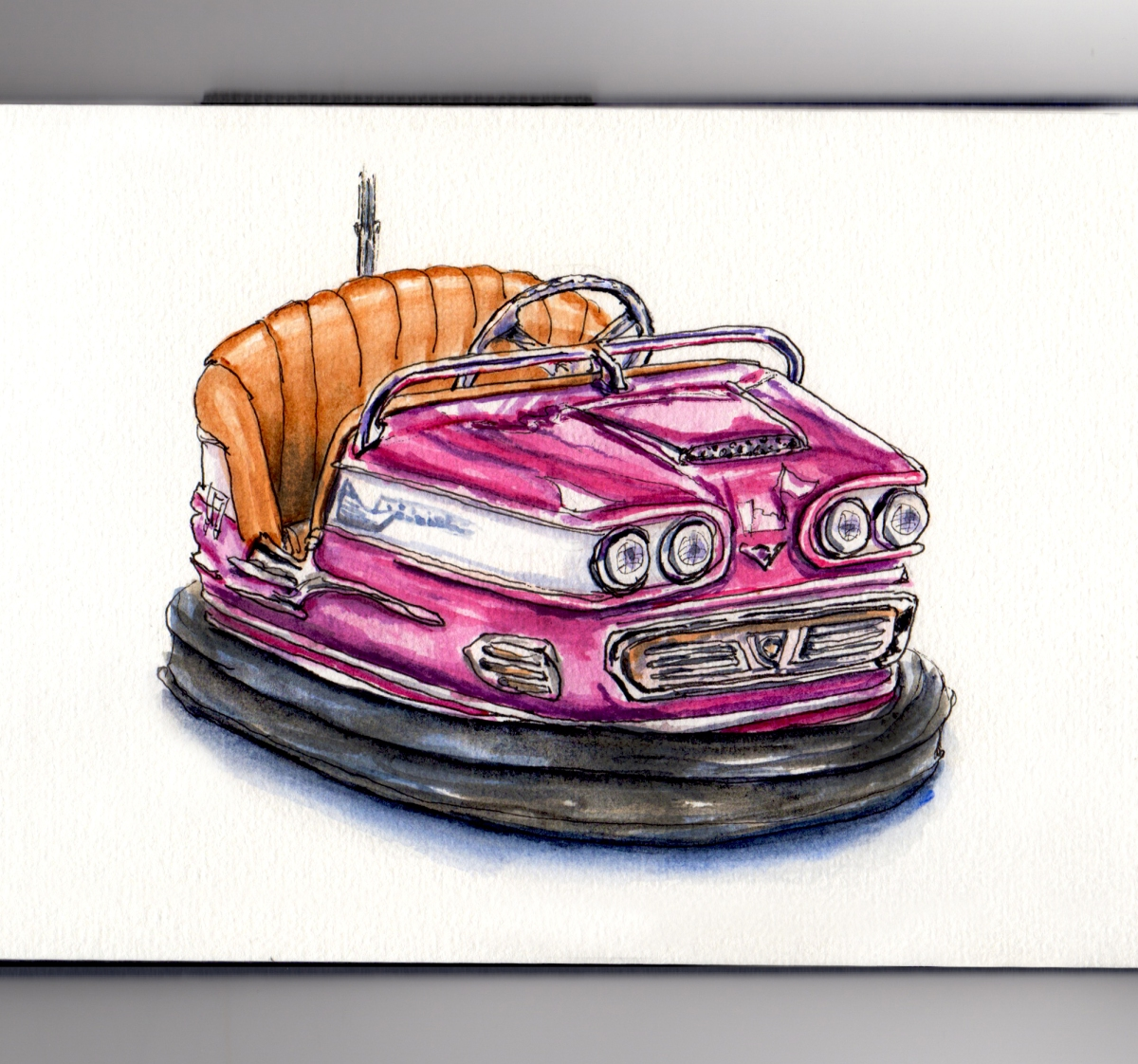 Day 20 #WorldWatercolorGroup Riding in Bumper Cars Retro European