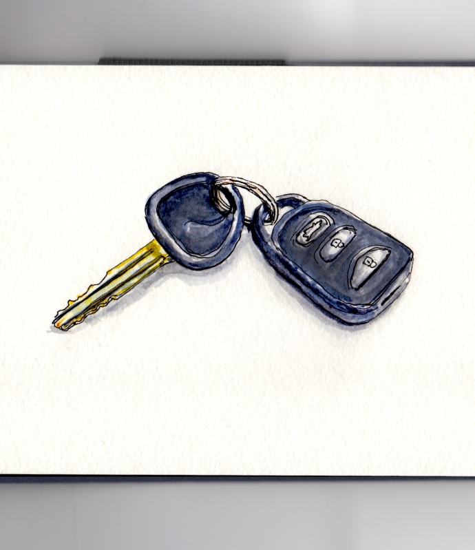Day 22 #WorldWatercolorGroup No More Car Keys Public transporation
