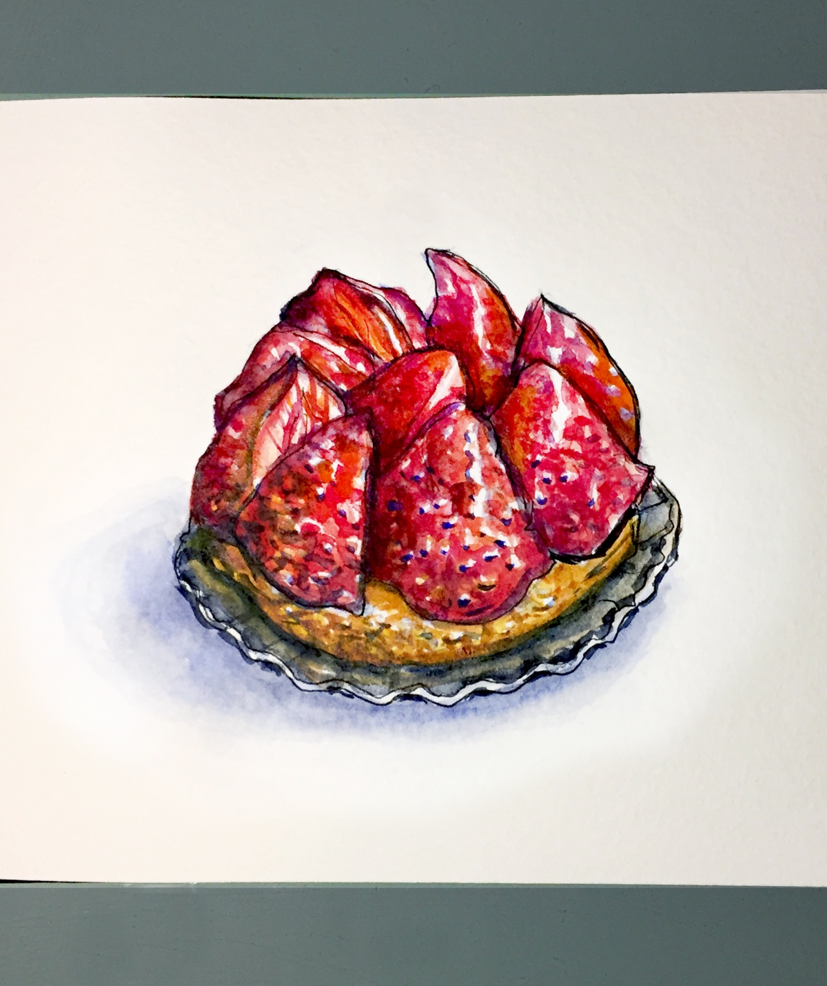 Day 29 #WorldWatercolorGroup Tarte Aux Fraises Paris France
