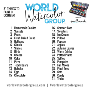 #WorldWatercolorGroup Watercolor Painting Prompts for October 2016 World Watercolor Group Art Challenge