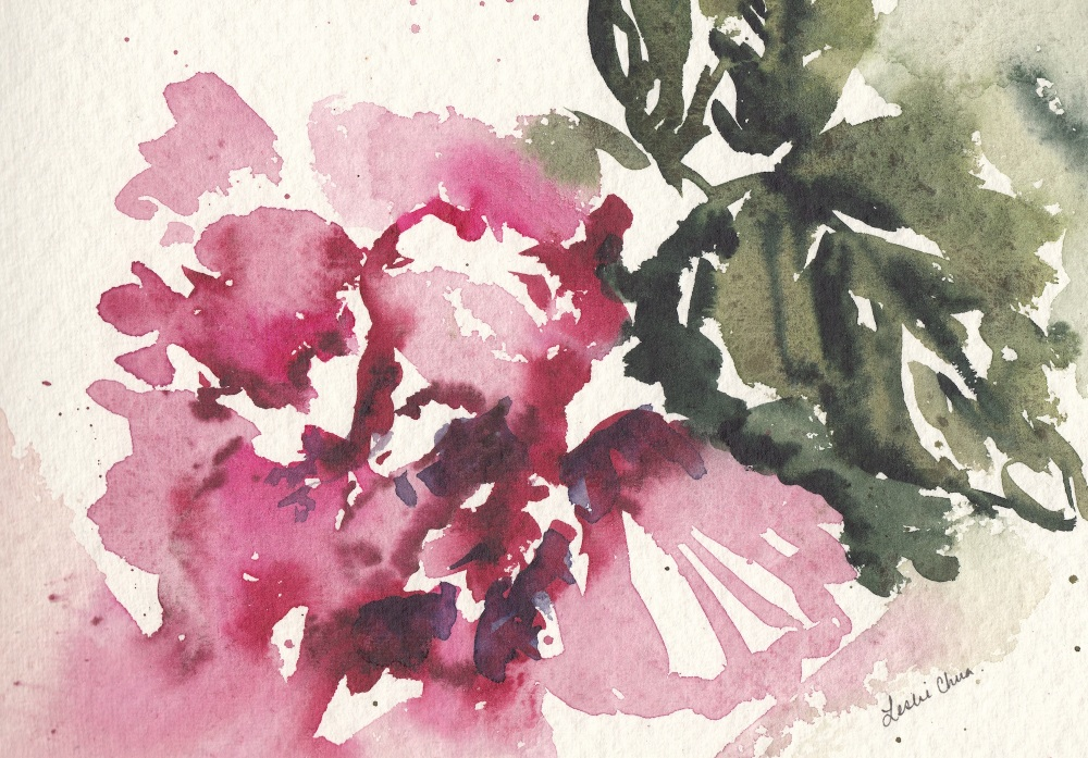 #Doodlewash - Watercolor sketch by Leslie Chua - hibiscus - #WorldWatercolorGroup