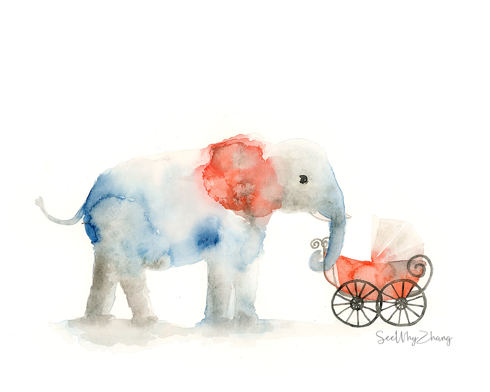 #Doodlewash - Elephant with baby carriage - #WorldWatercolorGroup