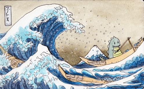 #Doodlewash - Watercolor comic by Damian Willcox, dorkboy comics - hokusai wave - #WorldWatercolorGroup