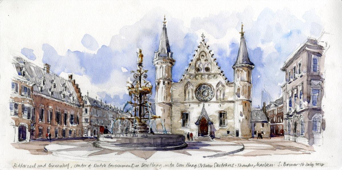 #Doodlewash - Stephanie Bower, #UrbanSketcher - watercolor sketch: Den Haag, The Netherlands #WorldWatercolorGroup