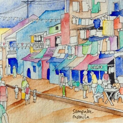 #Doodlewash - Watercolor Sketch by Abel Pabres - street with people - #WorldWatercolorGroup